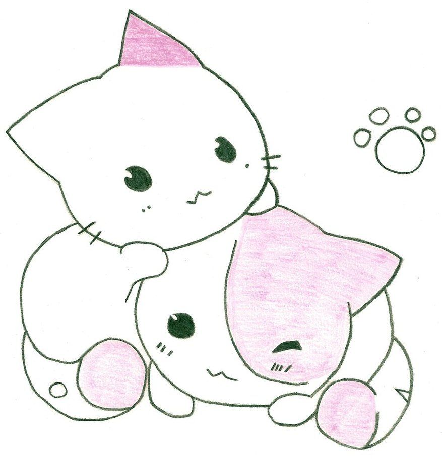 877x912 Cute Anime Cat Drawing Cats Are Soooo Cute! My Girl