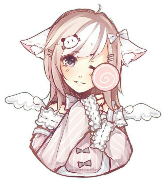 564x616 Cute Little Girl With Cat Ears And Angel Wings Anime Drawings