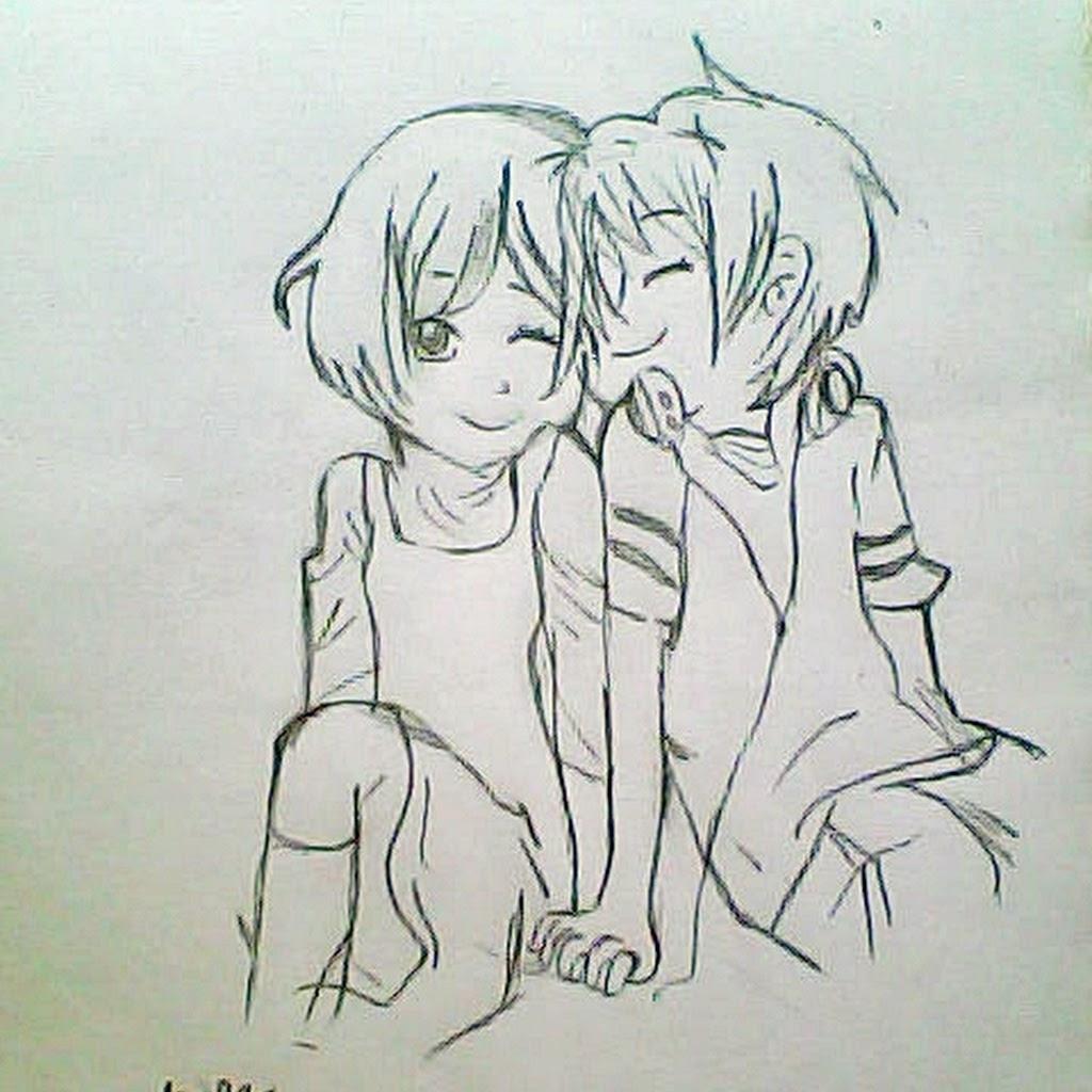 1024x1024 Anime Couple Hugging Drawing