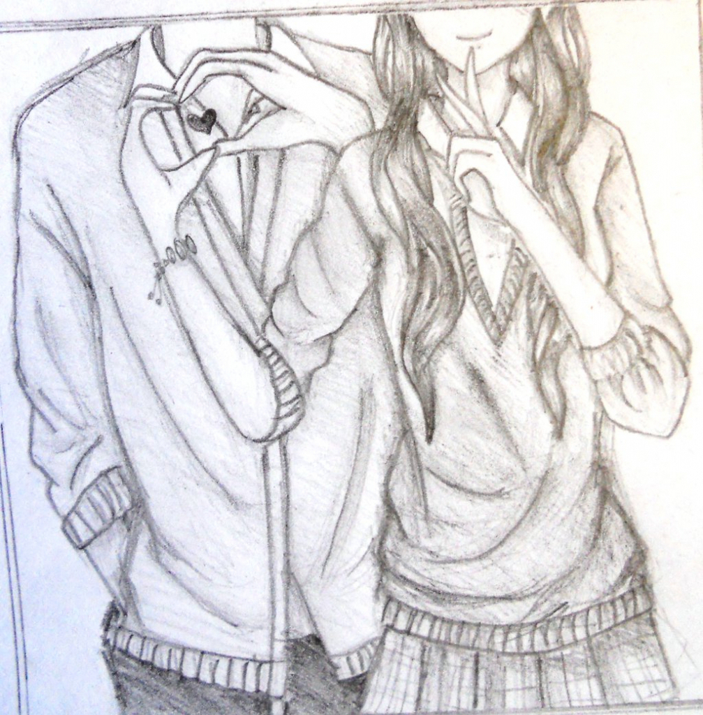 1007x1024 Anime Couple Hugging Drawings In Pencil Anime Simple Couples