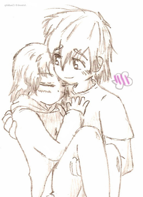 500x690 Cute Anime Couples Cuddling Download Cute Anime Couple Drawings
