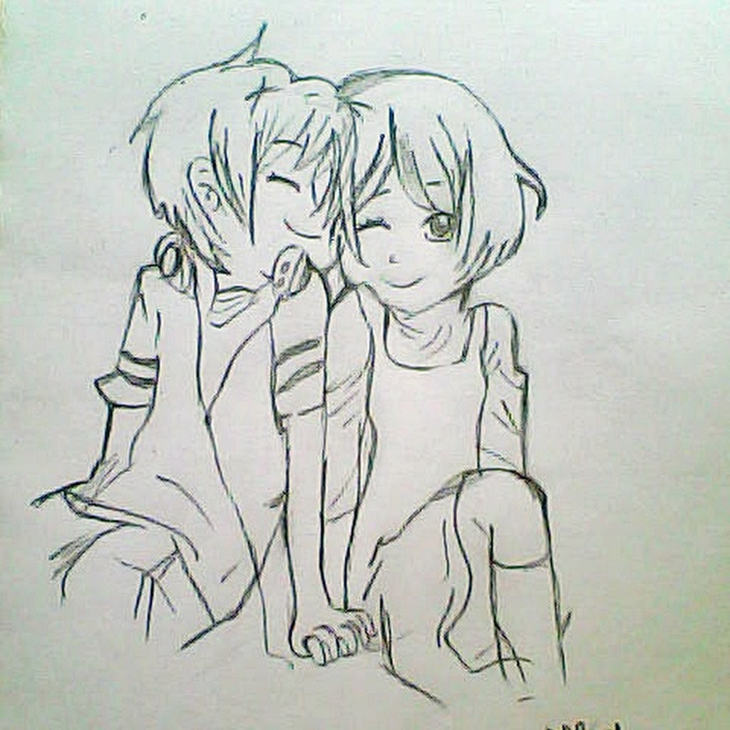 1024x1024 Cute Anime Couples Pencil Sketch Romantic Anime Couples Kissing