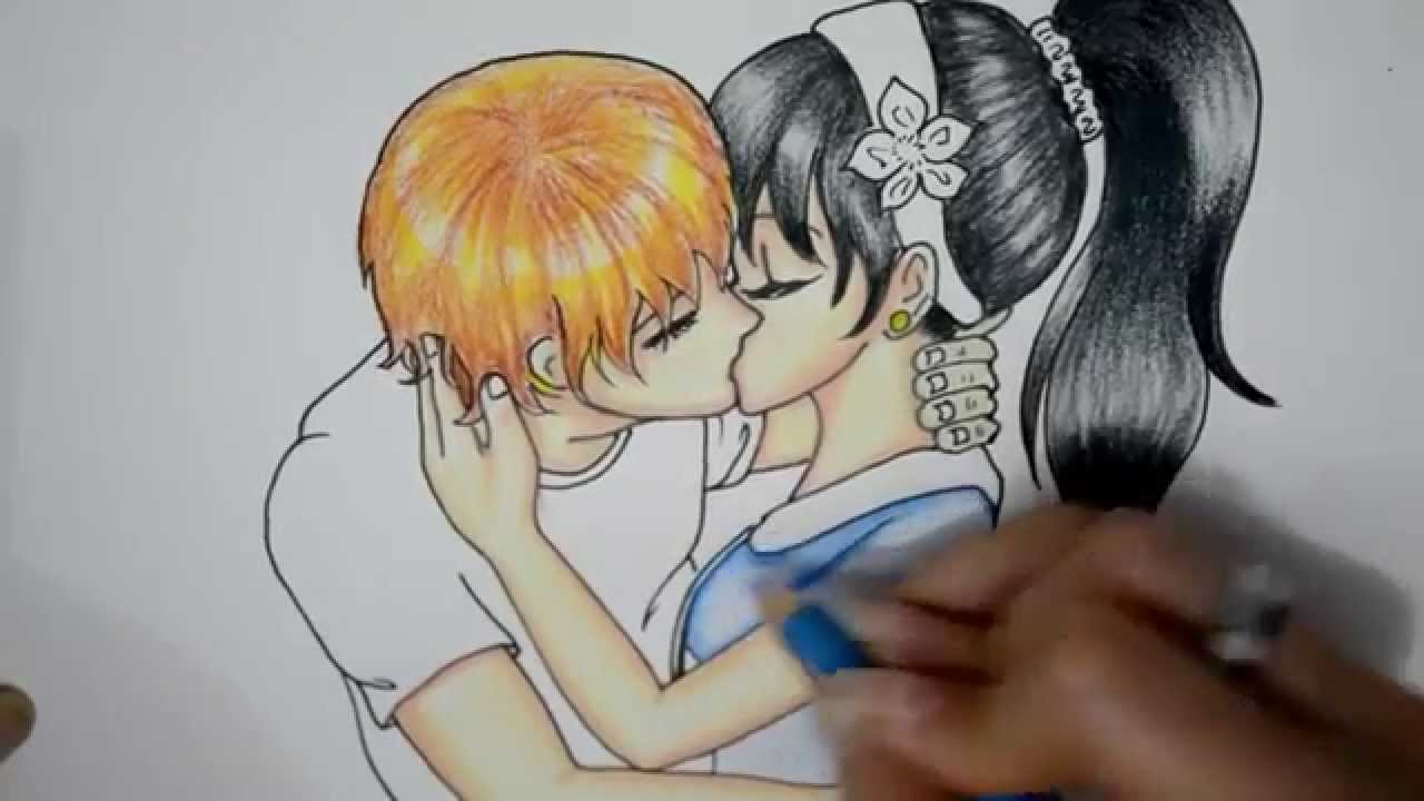 1280x720 How To Draw A Anime Couple Love Kissing So Cute And Romantic