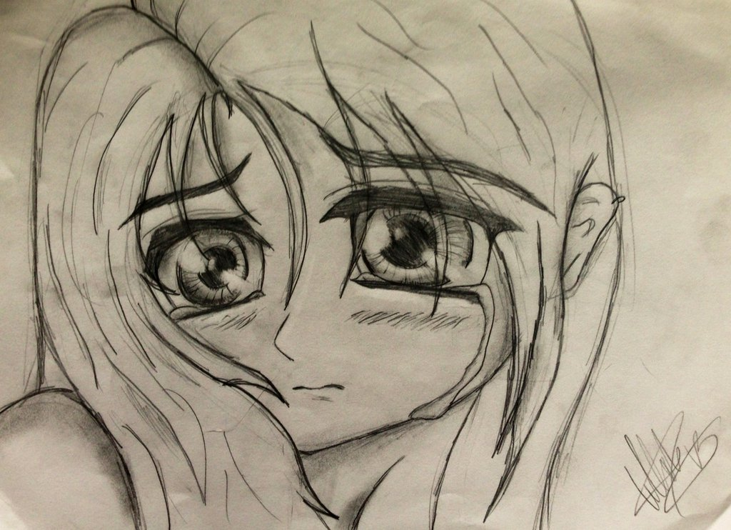 1024x742 Crying Anime Girl Sketch By Tellabart
