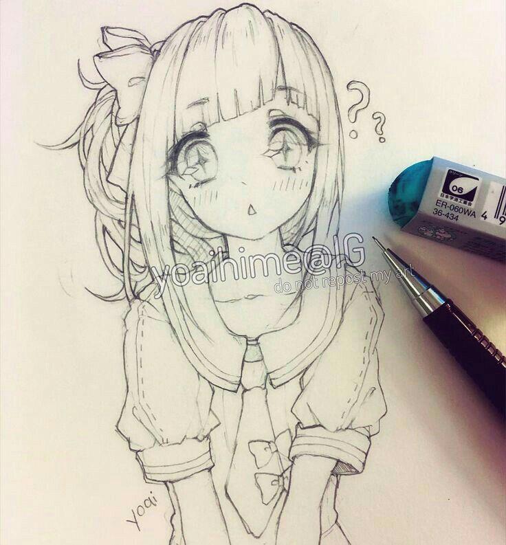 736x793 Gallery Cute Anime Girl Drawing,