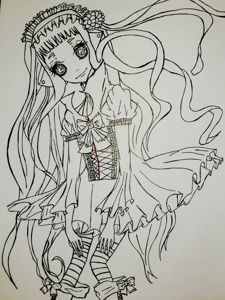 774x1032 Gothic Anime Doll Lineart. By Franeechan