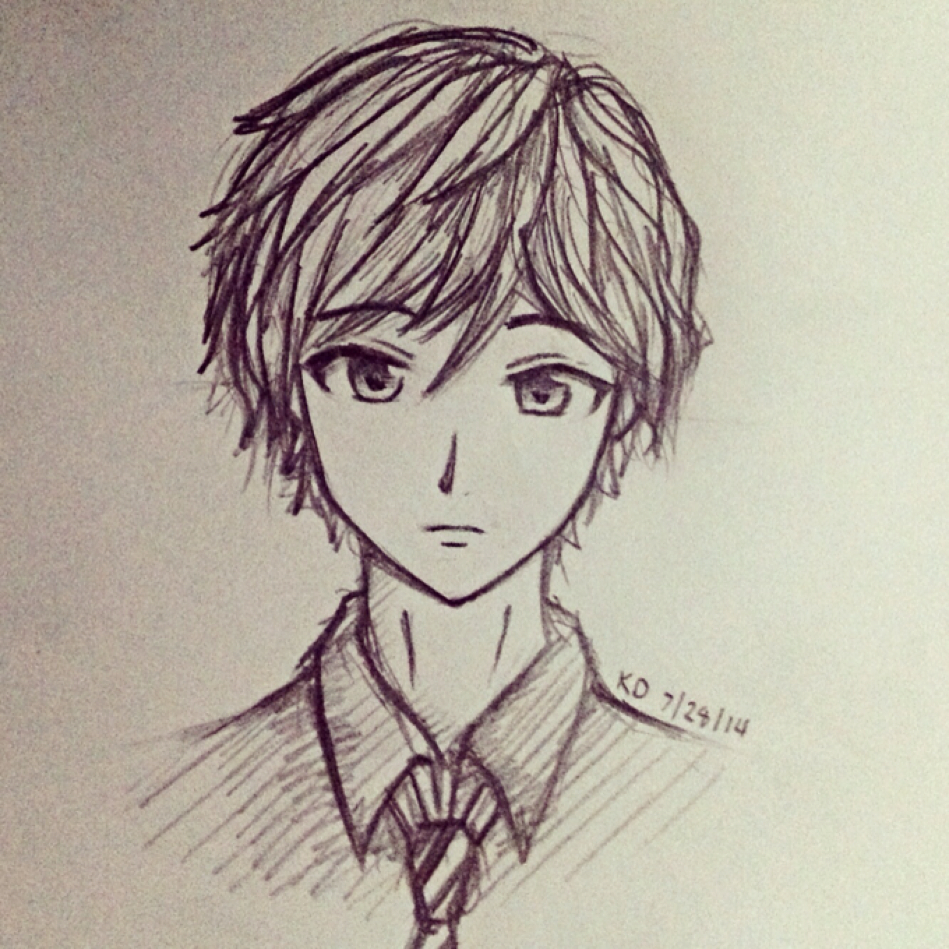 1360x1360 Easy Anime Drawing Easy Anime Drawings In Pencil Boy