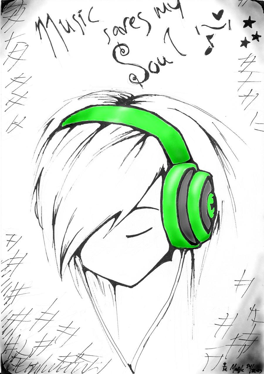 900x1273 Easy Anime Drawings Music Saves My Soul
