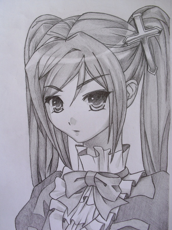 Best Anime Girl Cute Pencil Sketch