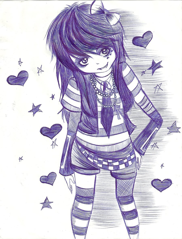 900x1186 Emo Girl Sketch By Sukina Chan
