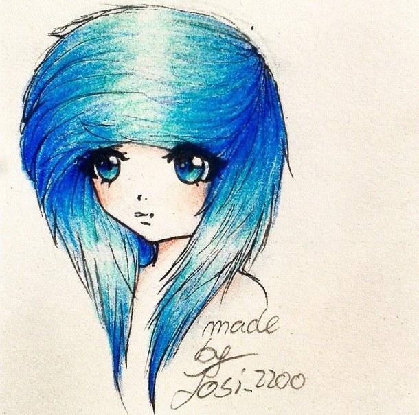 610x605 anime anime girl art blue blue hair