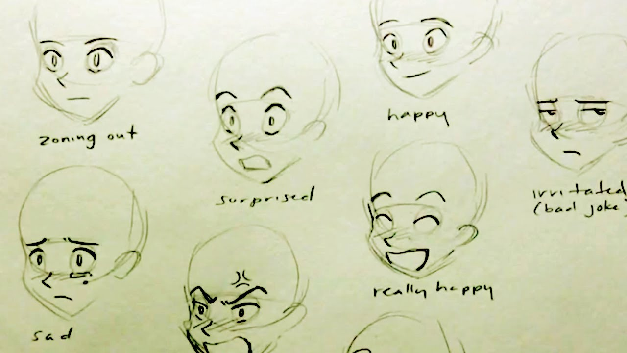 1280x720 How To Draw A Manga Face 7 Expressions