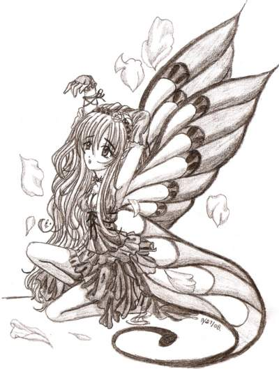 400x529 fairy 001 teen charcoal about abstract anime fan art nature