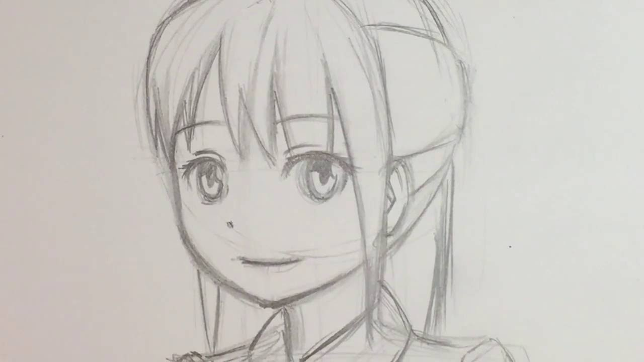 1280x720 How To Draw Anime Female Face 34 View [Slow Narrated Tutorial