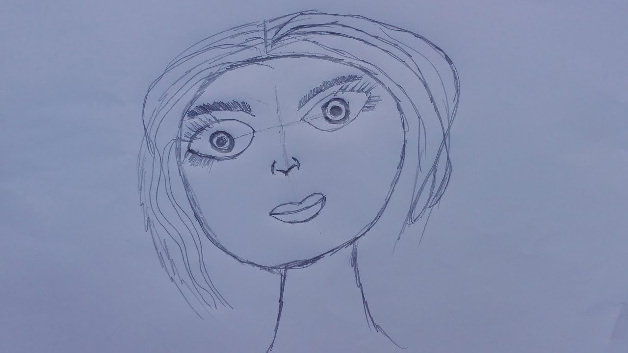 Line Drawing Of Female Face : Anime female drawing at getdrawings free for personal use
