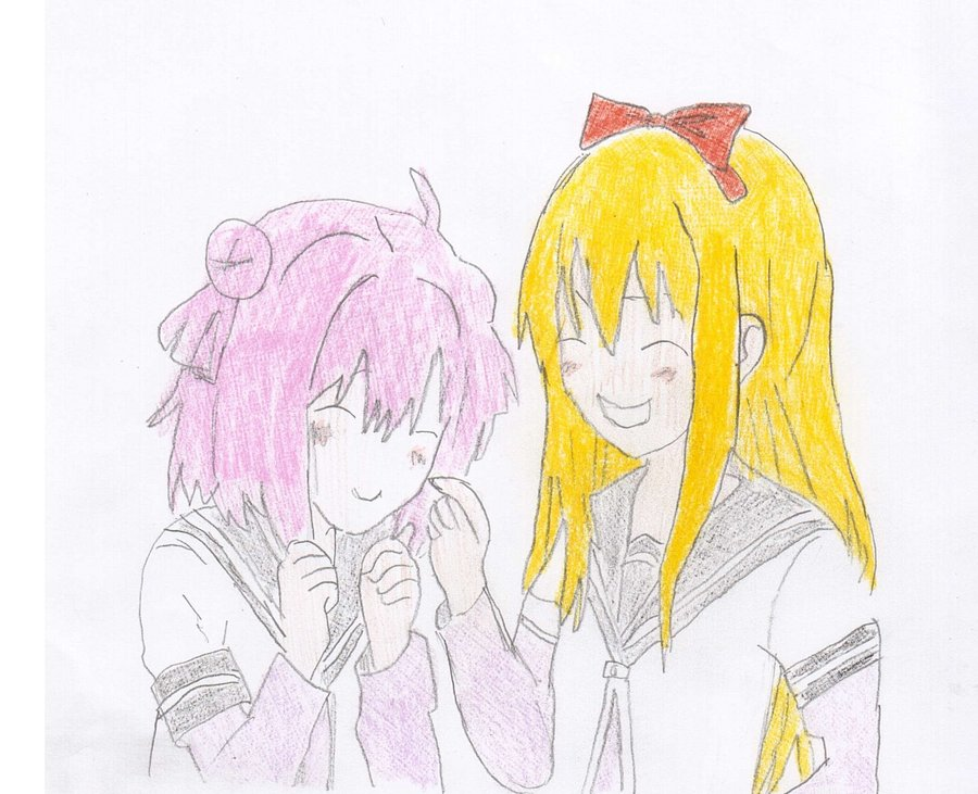 900x731 Anime Friends Drawing By Electricbunni