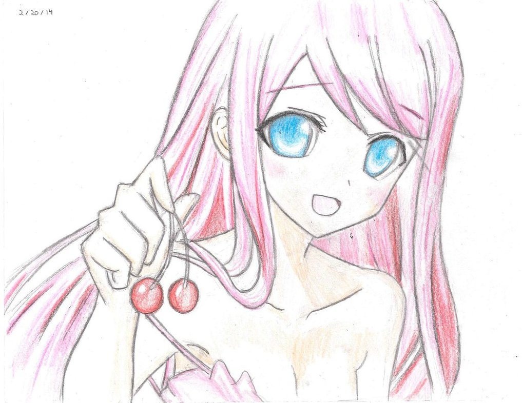 1017x786 2014 02 14 Cherries Anime Girl Drawing by PieTheDon on DeviantArt