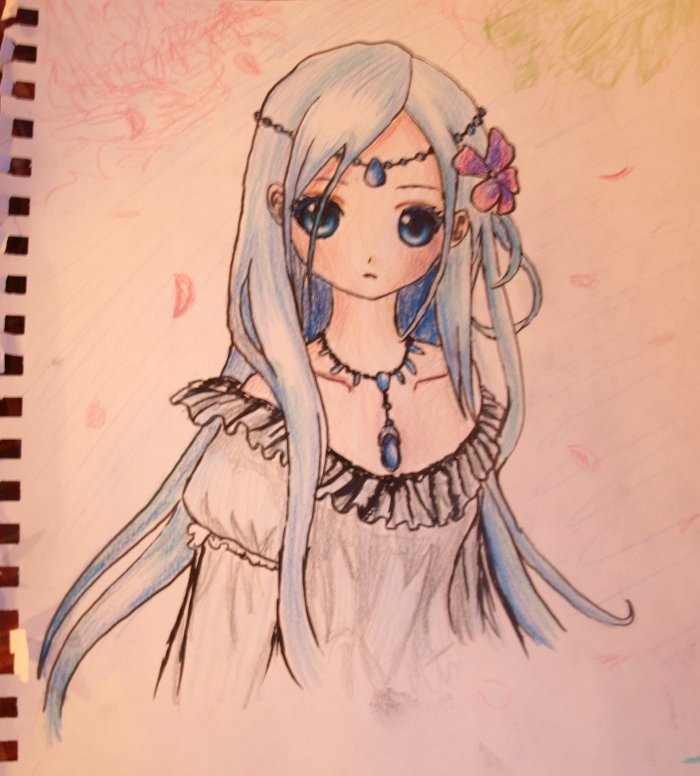 700x776 blue haired anime girl drawing by l l arts on deviantart