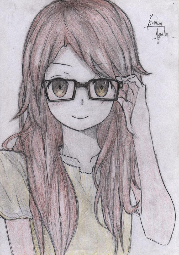 750x1065 Glasses Anime Girl By Christarg