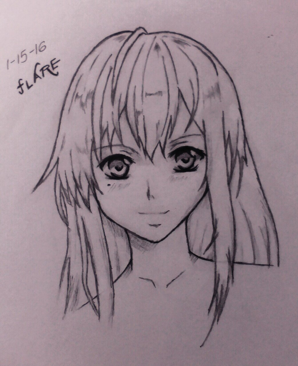 1024x1256 Anime Girl Drawing By Flare029