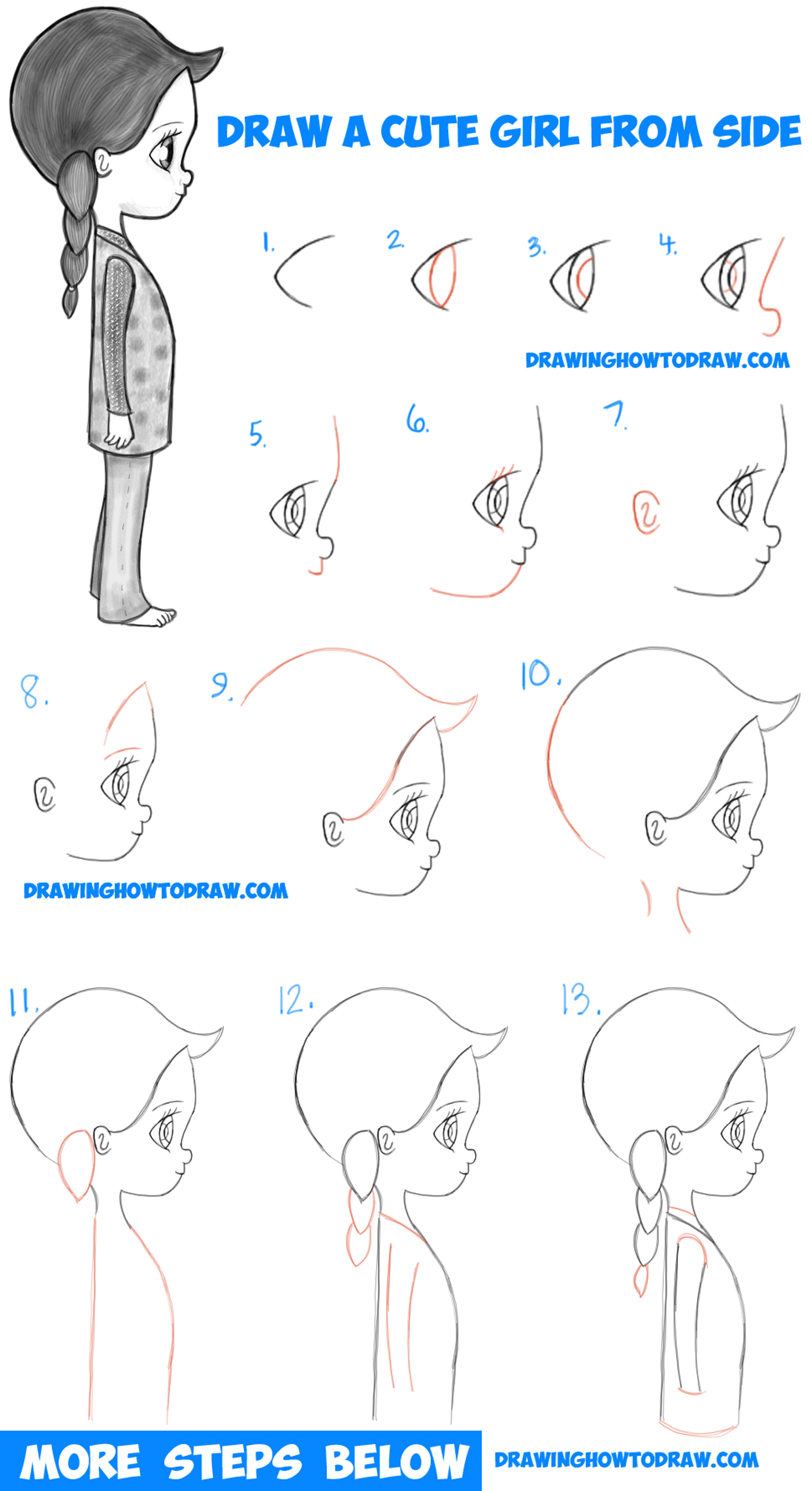 1400x2570 How To Draw A Cute Chibi Manga Anime Girl From The Side View