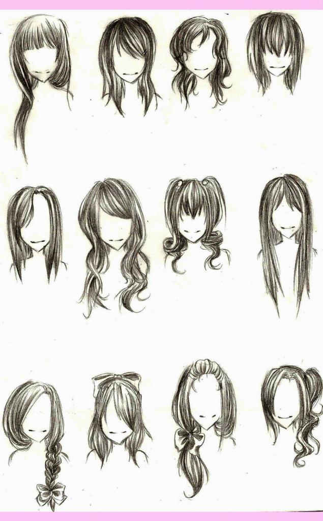 635x1024 Anime Girl Hairstyles Drawings