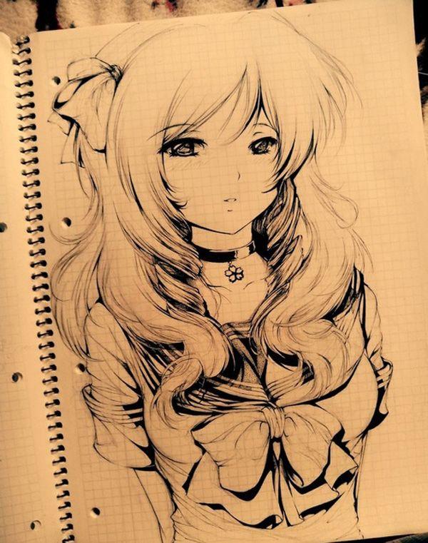 600x761 Cool Anime Girl Drawings