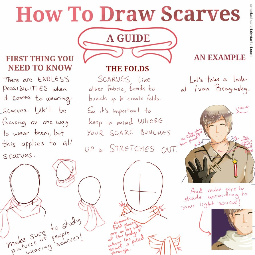 894x894 How To Draw Scarves A Guidetutorial By Smartasticalart