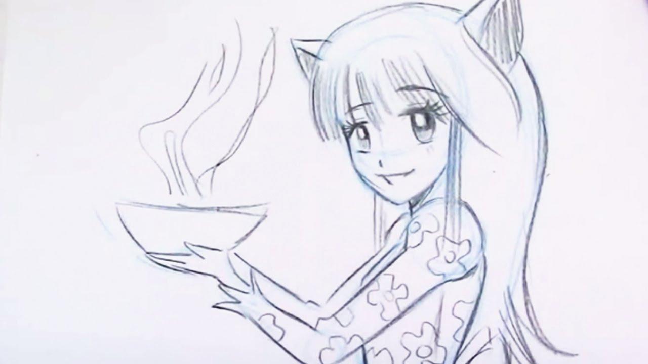 how to draw a kawaii girl easy