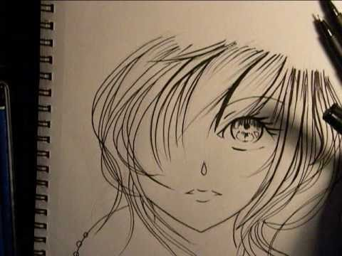 480x360 Drawing Anime Girl Face, Inking.