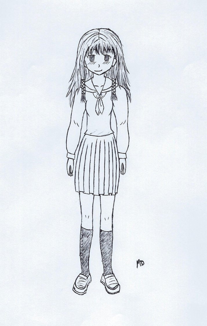 Anime Girl Full Body Drawing At Getdrawings Com Free For Personal
