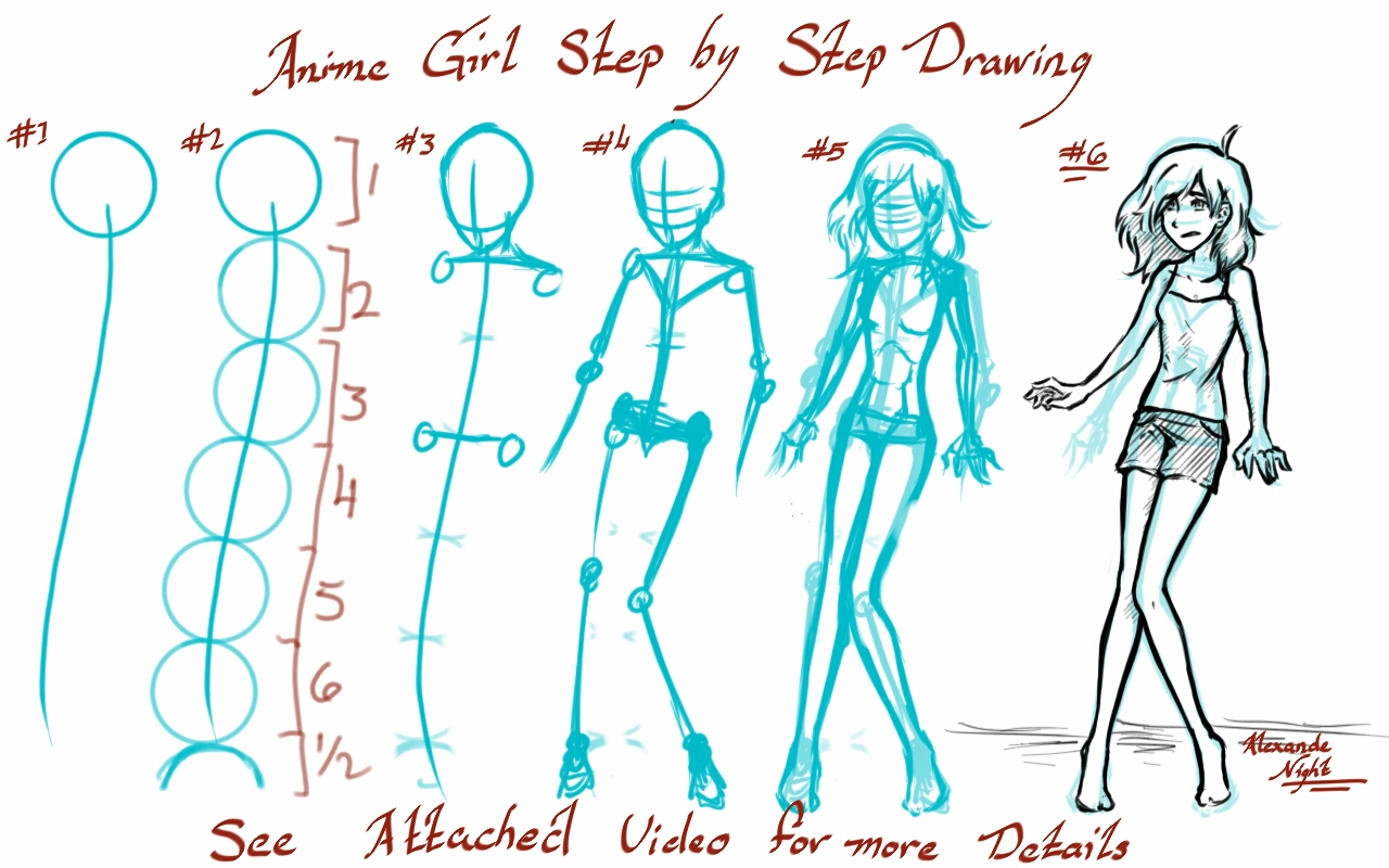 Anime Girl Step By Step Drawing At GetDrawings.com