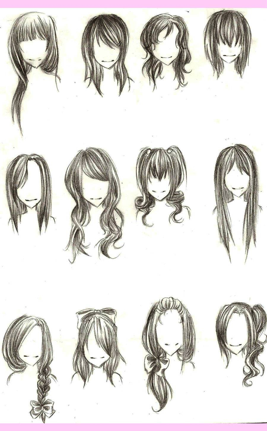 900x1450 Anime Girl Hairstyles Drawings Anime Hairstyles For Girls Sketch