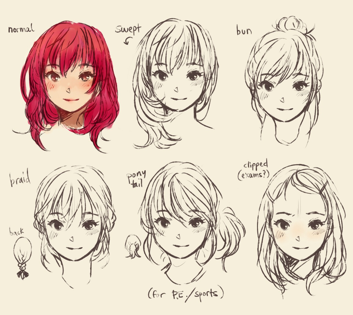 1155x1031 Cute Doodle Hair Style Manga 350735 Manga Hair, Manga