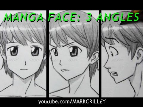 480x360 Drawing Time Lapse Manga Face, 3 Angles [Male] Anime Boy
