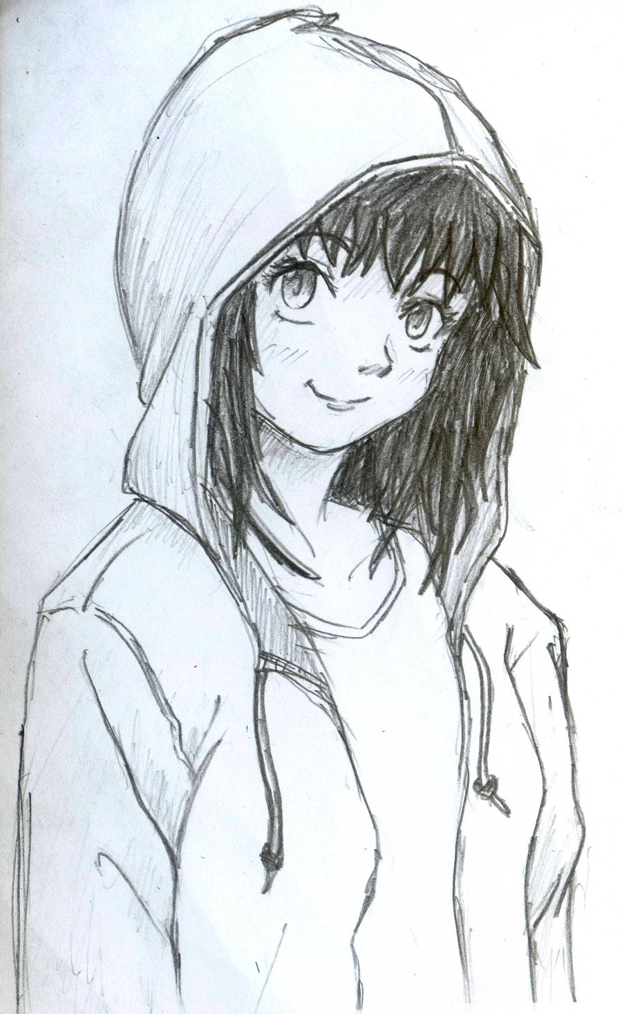 900x1468 Anime Girl In Hoodie Drawing Drawn Girl Hoodie