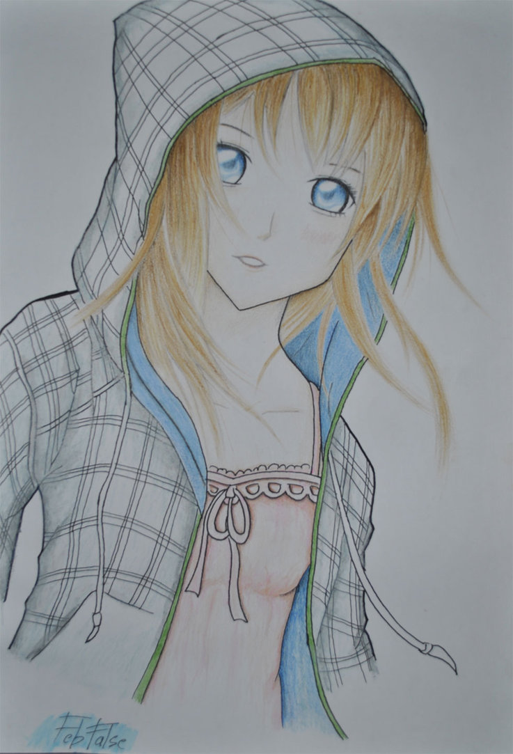 737x1083 Anime Girl With Hoodie By Febfalse