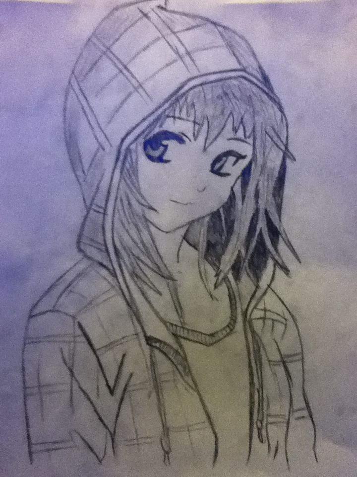 Anime Girl In Hoodie Drawing