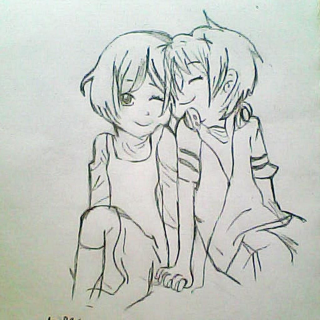 1024x1024 Anime Couple Hugging Drawings In Pencil Anime Hug Drawing Pencil