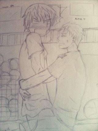 320x427 Aokise Fanart By Me~ First Time To Draw Two Guys Hugging Good