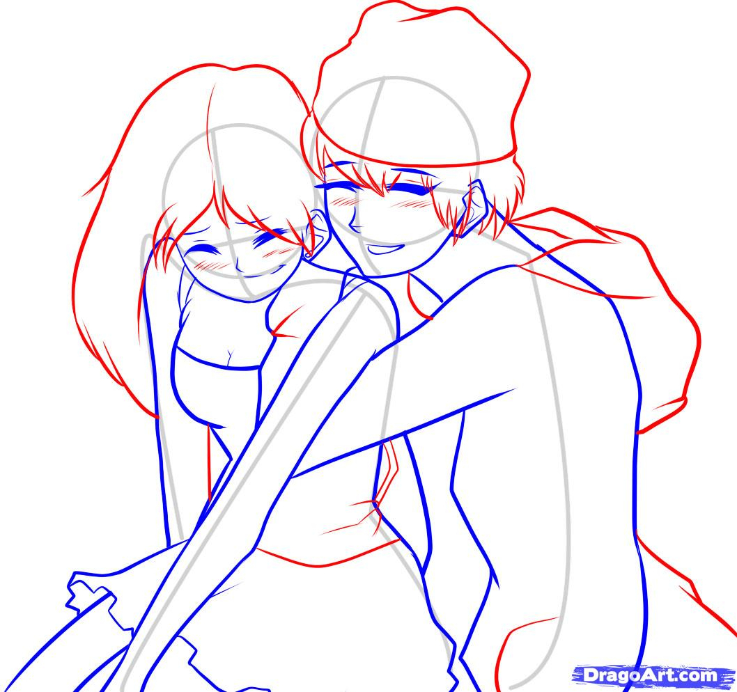 1058x994 How To Draw Boy And Girl Hugging Drawings Step By Step