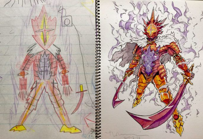 685x469 A Creative Dad Turned His Kids' Drawings Into Amazing Anime