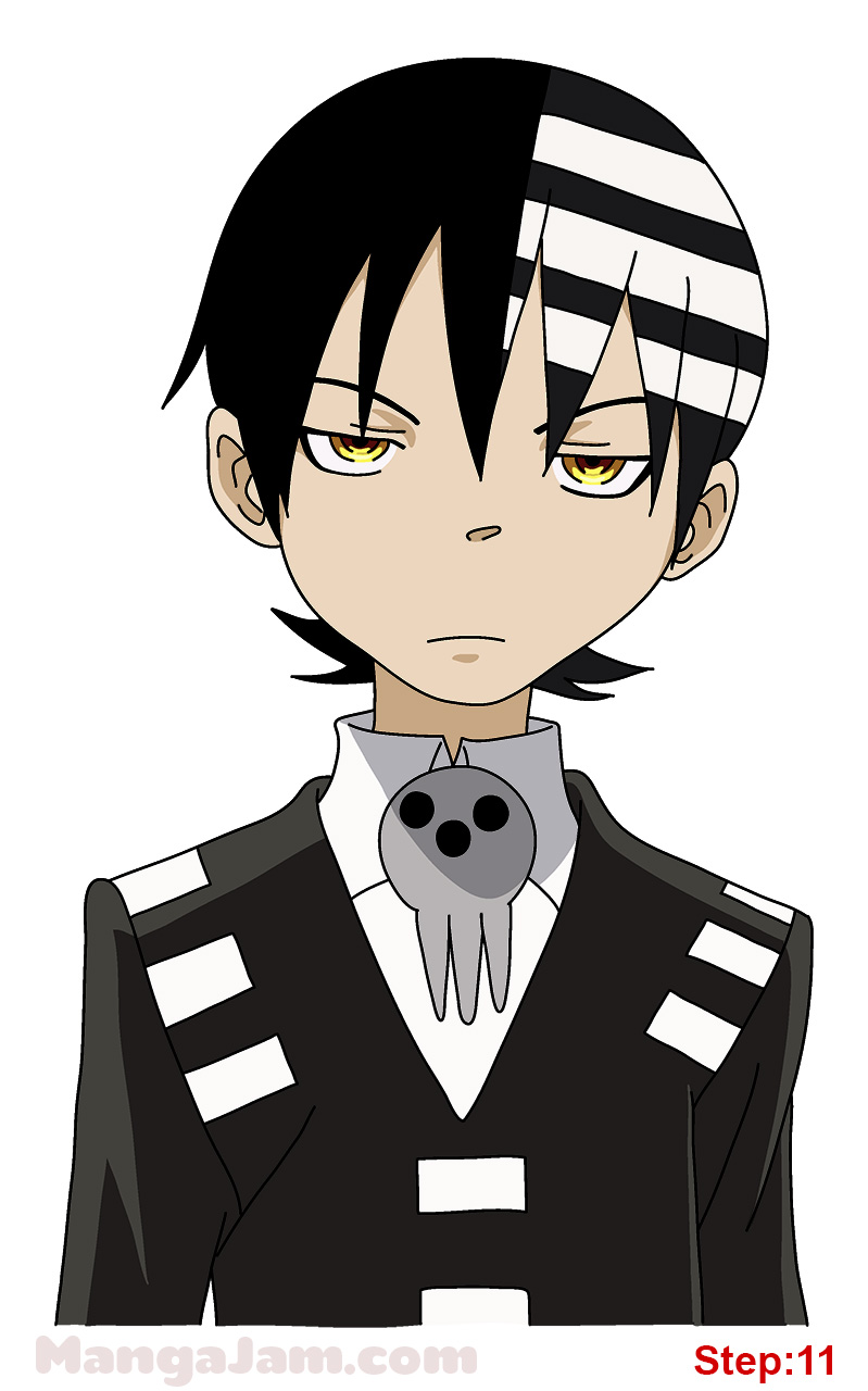 799x1280 How To Draw Death The Kid From Soul Eater Step 11 Drawing