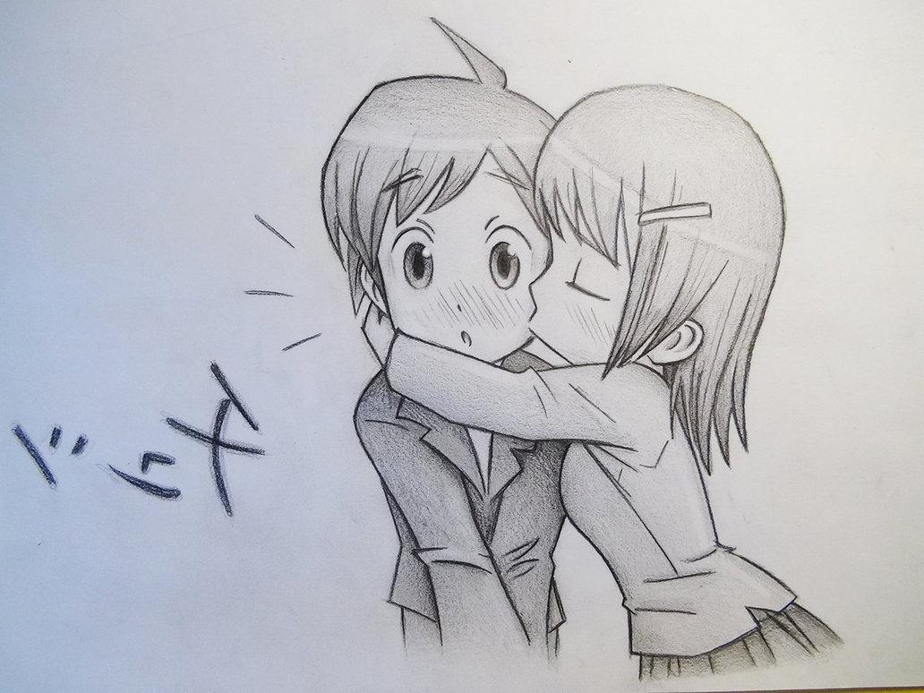 1032x774 Anime Girl And Boy Kiss Drawing Anime Couple,boy And Girl,kiss By