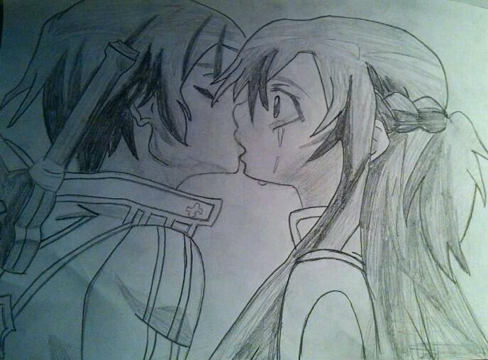 688x507 Sword Artline Kirito X Asuna Kiss Drawing By Valkiresky