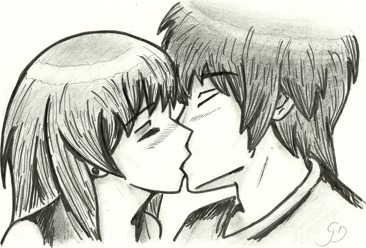 1549x1050 Anime People Kissing Drawing