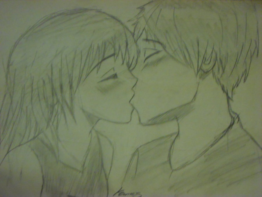900x675 My Drawing Of Anime Kissing By Silverbabywolf