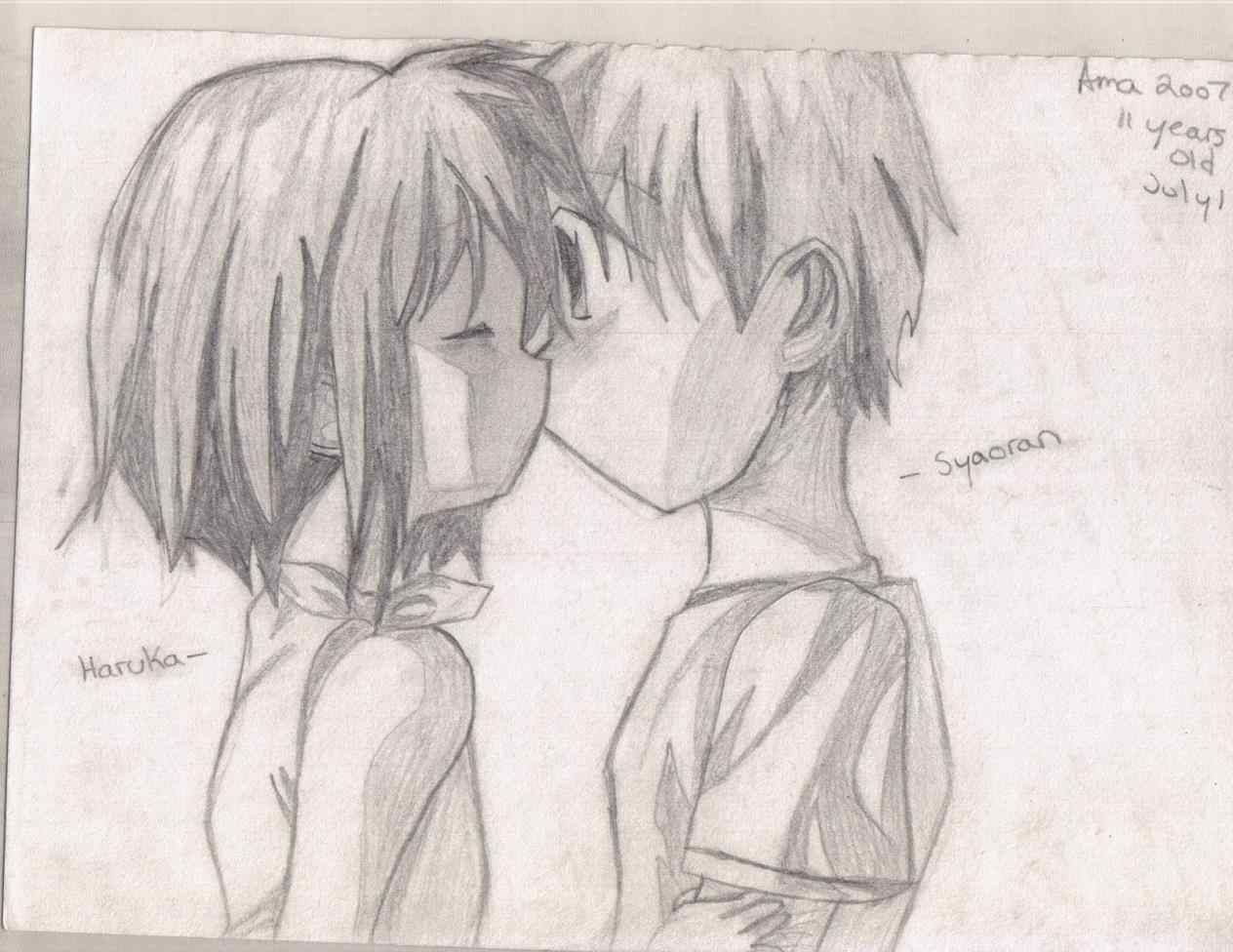 1264x976 Anime Love Drawing Cute Couple S In Pencil Drawn Draw