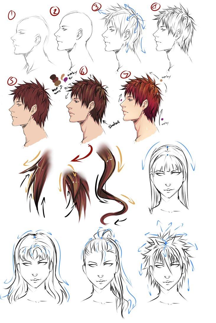 731x1092 Drawing Anime Hair By Moni158