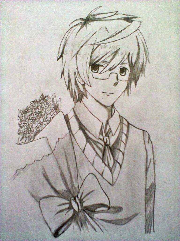 768x1024 anime boy drawings in pencil
